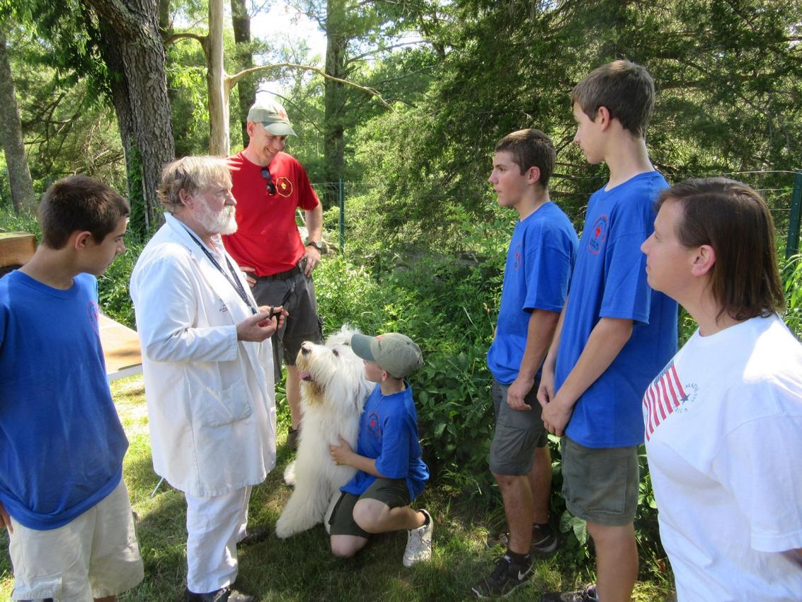 Sandy Woodard talking with the Boy Scouts
